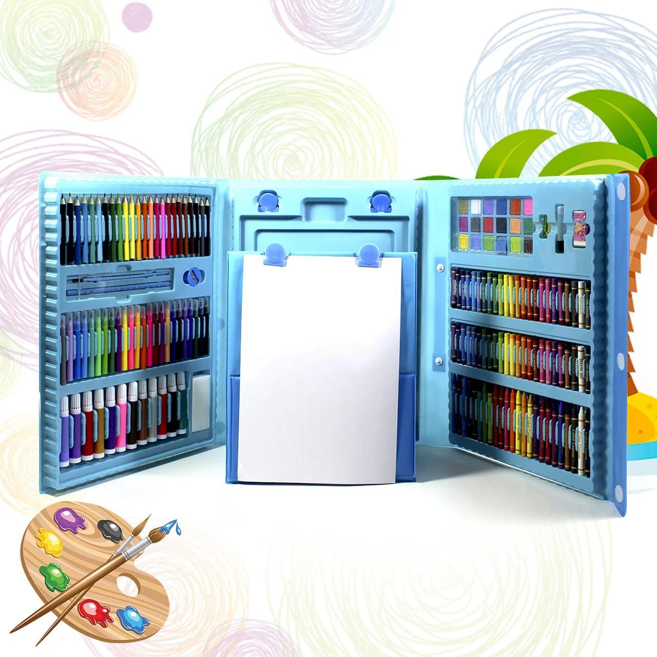 """УЦЕНКА! Набор для рисования с мольбертом в чемоданчике """"Чемодан творчества 208 предметов"""" Голубой (GK)"""