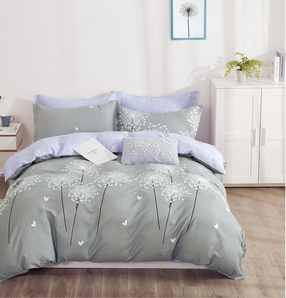 Комплект постельного белья семейный Bella Villa сатин серый с одуванчиками
