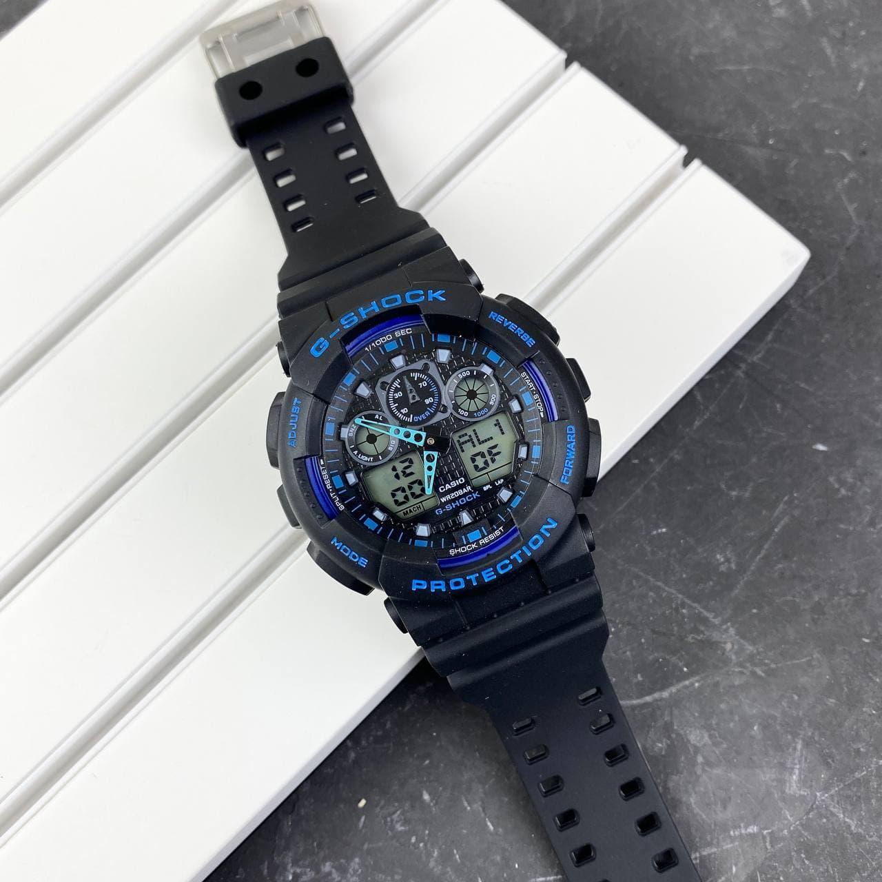 Мужские наручные часы Casio G-Shock GA-100 Black-Black-Blue