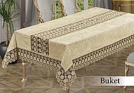 Скатертина велюрова прямокутна Buket 160х220 (TM Zeron) Cappuccino, Туреччина