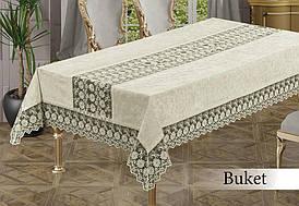 Скатертина велюрова прямокутна Buket 160х220 (TM Zeron) Crem, Туреччина