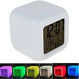 Цифровые светодиодные часы куб с ЖК-дисплеем и будильником, с изменяющимися цветами, для снятия стре, фото 3