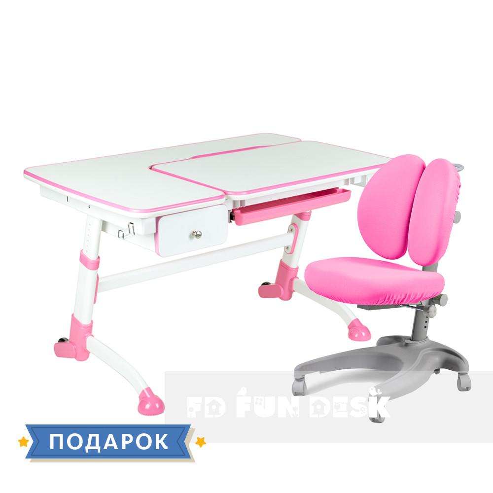 Комплект для девочки 👸 парта для школы Amare Pink + эргономичное кресло FunDesk Solerte Pink