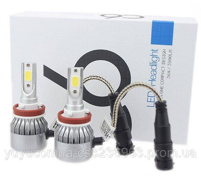 Светодиодные LED лампы для фар автомобиля С6-H11 Turbo 6500К