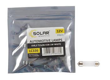 "Светодиод 12V 36mm T11  1 COB (1W)  белый (10шт) ""Solar"" LC336_P (пол.пакет)"