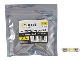 "Светодиод 12V 36mm T11 3SMD (5050) белый (10шт) ""Solar"" LS254_P (пол.пакет)"
