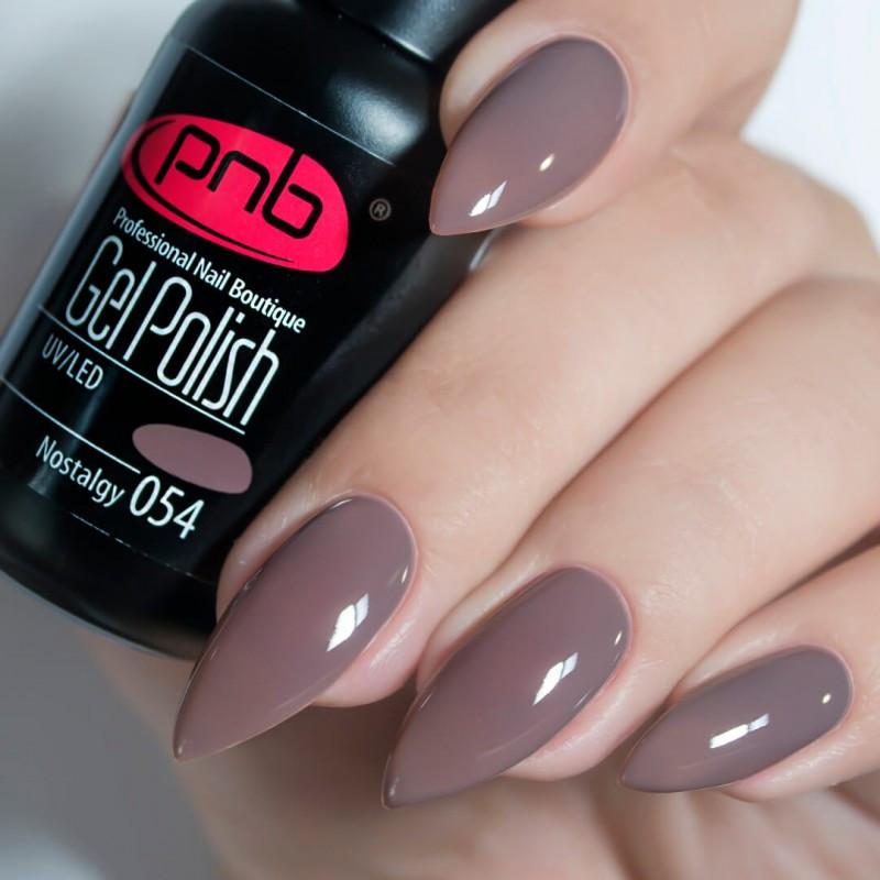 Гель лак PNB 054, 8 мл Темно-серый, приглушенный цвет мокрый асфальт