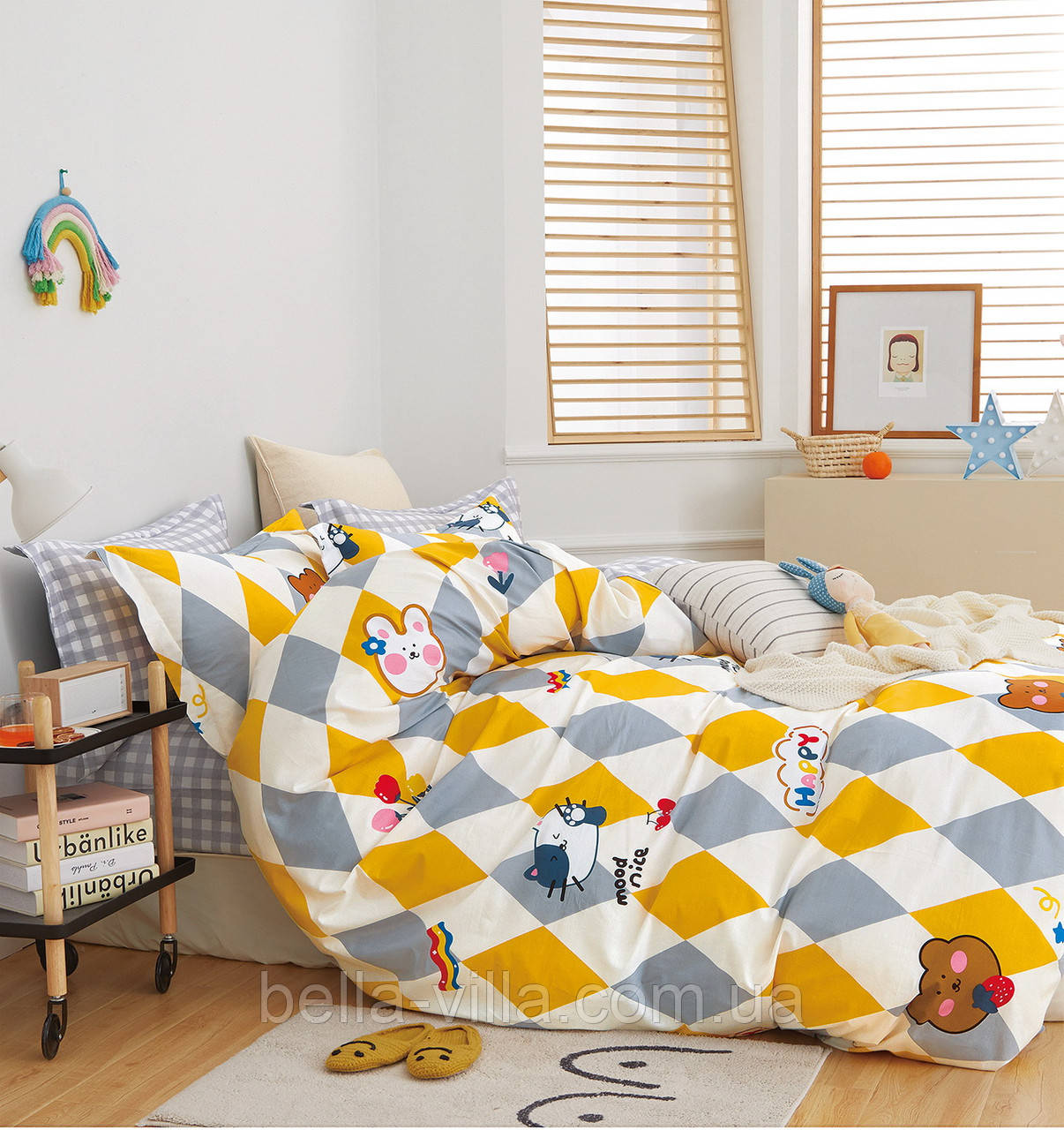 Комплект постельного белья Bella Villa сатин полуторный серо-желтый