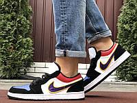 Мужские кожаные кроссовки в стиле Nike Air Jordan 1 Low разноцветные, фото 1