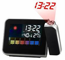 Часы метеостанция с проектором времени и цветным дисплеем, Гигрометр, Термометр, Влагомер