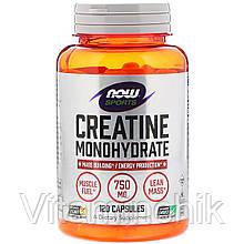 Моногидрат креатина, 750 мг, Now Foods, Creatine Monohydrate, 120 капсул