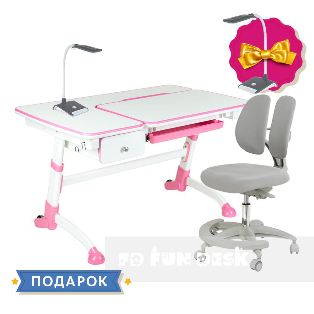Комплект подростковый👫 парта FunDesk Amare Pink с выдвижным ящиком + подростковое кресло FunDesk Primo Grey