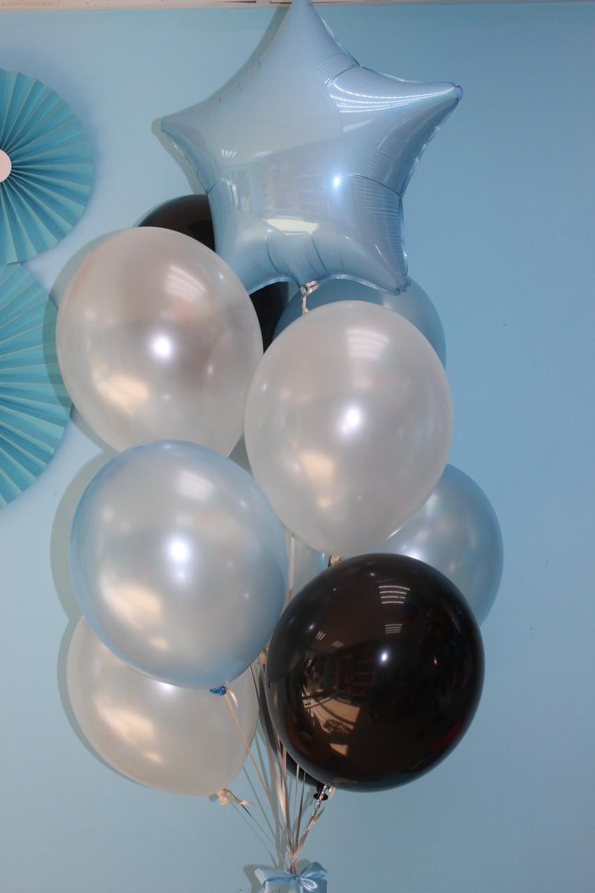 Жемчужные, голубые и черные шарики