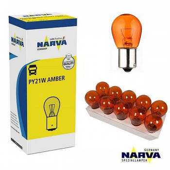 "Лампа 12V (цок.offset.янтар ВАU15s) P21W ""Narva"" (17638) Amber (уп.10шт)"