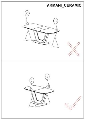 Стол ARMANI италийская керамика с эффектом мрамора 160 (220) X90, фото 2