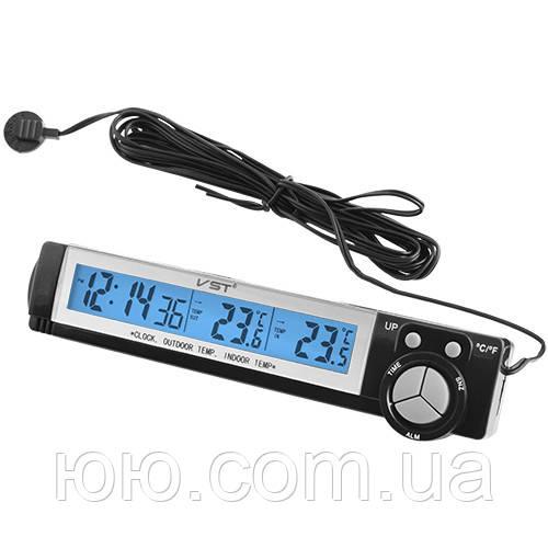 Автомобильные часы с термометром vst-7043