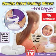 Дзеркало з підсвічуванням і підставкою кругле fold away