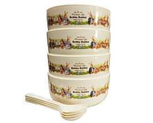 Набор детских тарелок с ложечками Bobby Rabbit 12,4х5,7см, посуда для кормления, детская посуда для кормления,