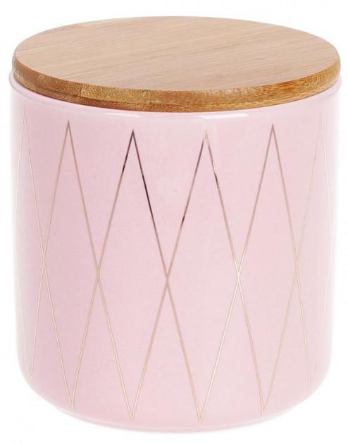 Банка Bona Merceyl Золотые Ромбы 600 мл керамическая с бамбуковой крышкой розовая