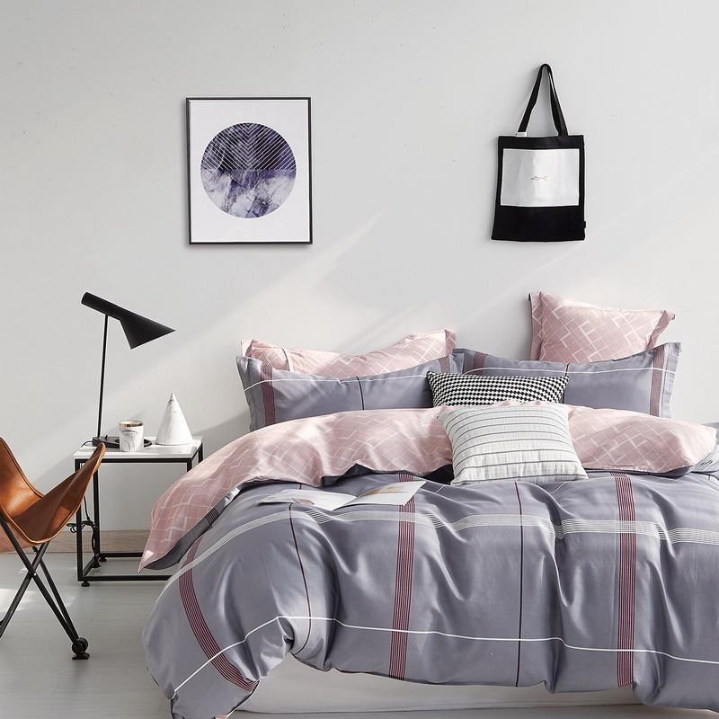 Комплект постельного белья Bella Villa сатин Евро серый в клетку