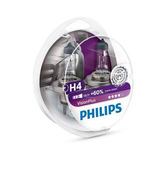 """Лампа H4 12V 60/55W + 60% Vision Plus """"Philips"""" (Box-2шт) (12342VPS2)"""
