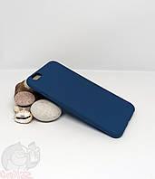 Силиконовый чехол с бархатной подкладкой для iPhone 6 (6s) темно-синий