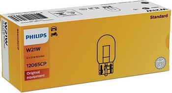 """Лампа 12V (бесцок.1-контак.) W21W """"Philips"""" (12065CP) (уп.10шт)"""