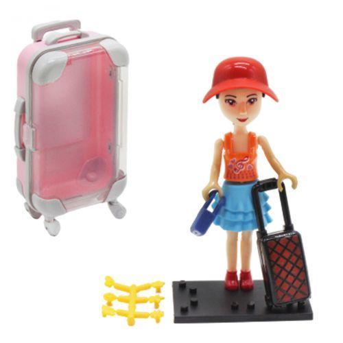 """Кукла в чемоданчике """"Путешественница"""", в красной шляпке 2025"""