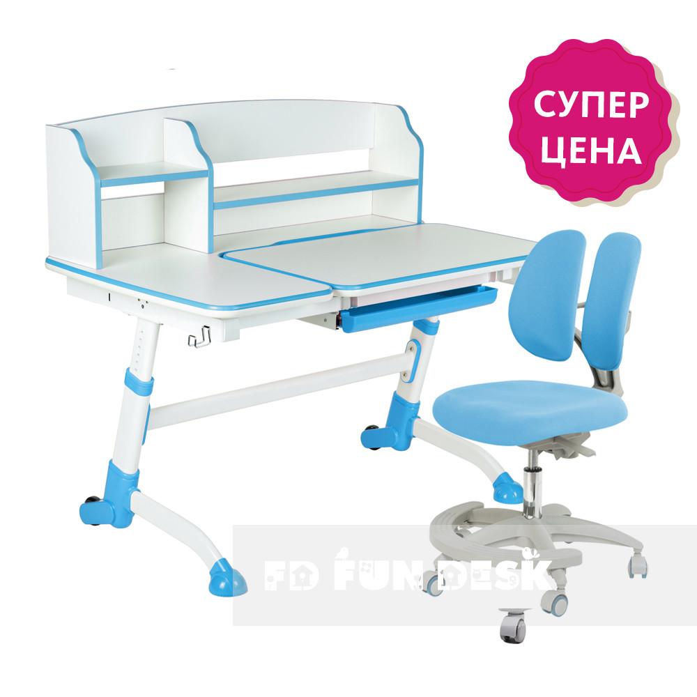 Комплект парта-трансформер  FunDesk Amare II Blue с выдвижным ящиком + кресло для дома FunDesk Primo Blue