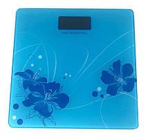 Весы напольные Domotec YZ-1604 голубые с цветком