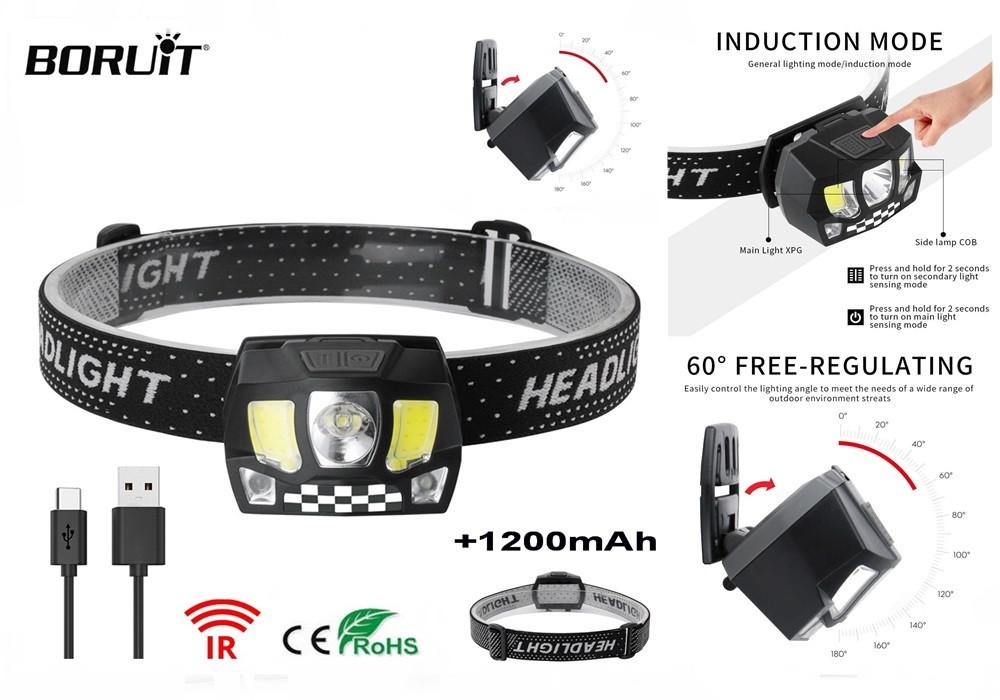 Легкий Налобный фонарь Boruit со Встроенным аккумулятором (XPG+COB LED, 5 Режимов, micro USB, 1200mAh)