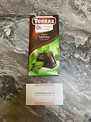 Черный шоколад Torras с мятой без сахара и глютена 75 грм