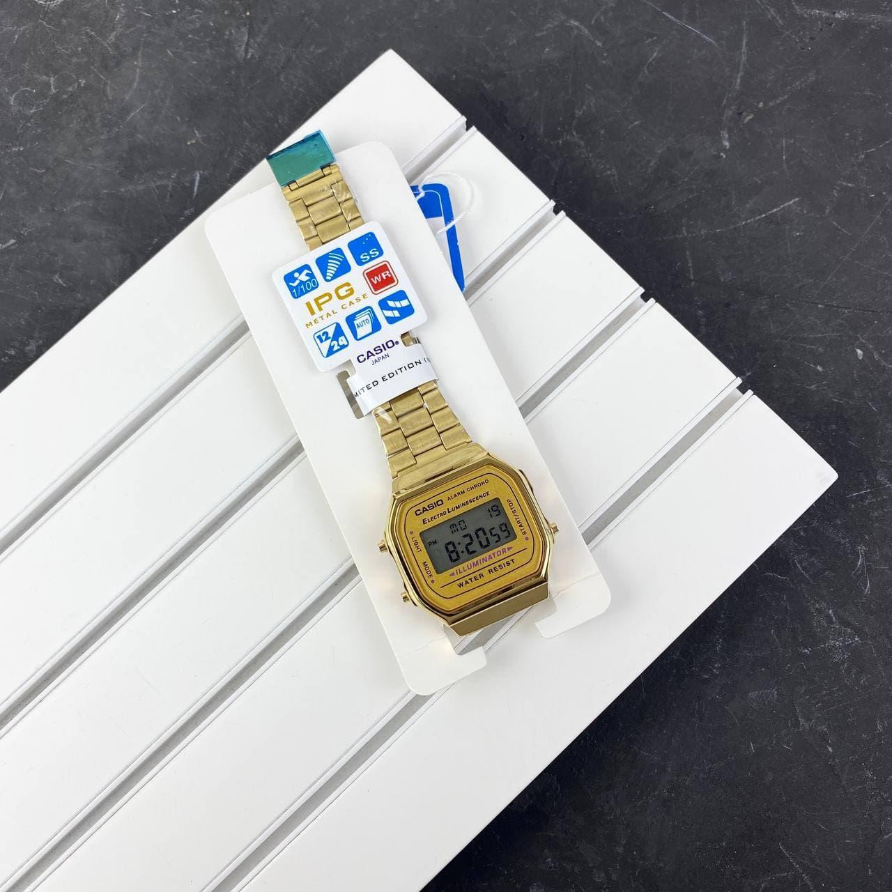 Мужские наручные часы Casio Illuminator F-91W Gold New
