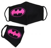 "Многоразовая 4-х слойная защитная маска ""Бэтмен"" размер 3, 7-14 лет, черно-розовая, маски защитные,маски,маски"