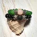Парные браслеты из натурального камня, Сет браслетов из Агата и Нефрита \ Sb - 0199, фото 7