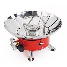 Газовая печь примус Kovar K-203 туристическая с защитой от ветра, плита газовая туристическая, Плита газовая