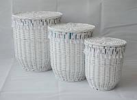 Корзина плетеная бельевая с крышкой Graphics белая 40х50 см