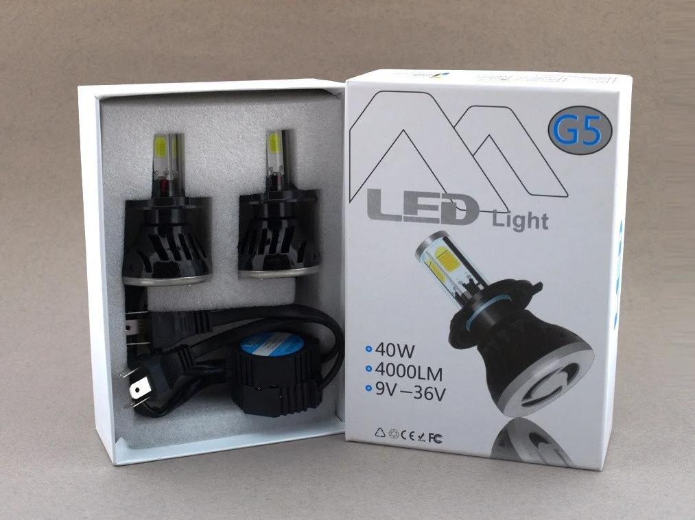 Автолампы светодиодные G5 LED H4 40W 6000K  c цоколем H4 (2 штуки), Автолампы светодиодные G5 LED H4,