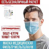 Маски медицинские СЕРТИФИЦИРОВАННЫЕ с мельтблауном, трехслойные, заводские, оптом и в розницу2
