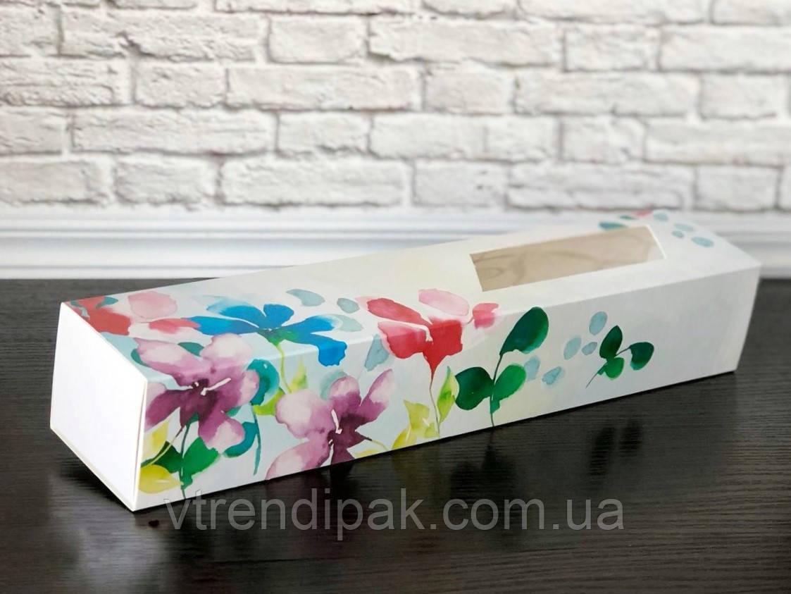 Коробка для macarons 300*60*50 Акварельні квіти