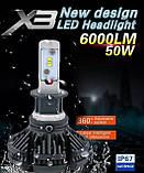 Светодиодные LED лампы для фар автомобиля X3-H1, дневные ходовые огни дхо, светодиодные дневные ходовые огни,, фото 3