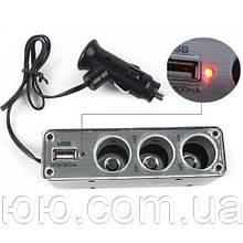 Автомобильный тройник в прикуриватель WF-0096 с USB