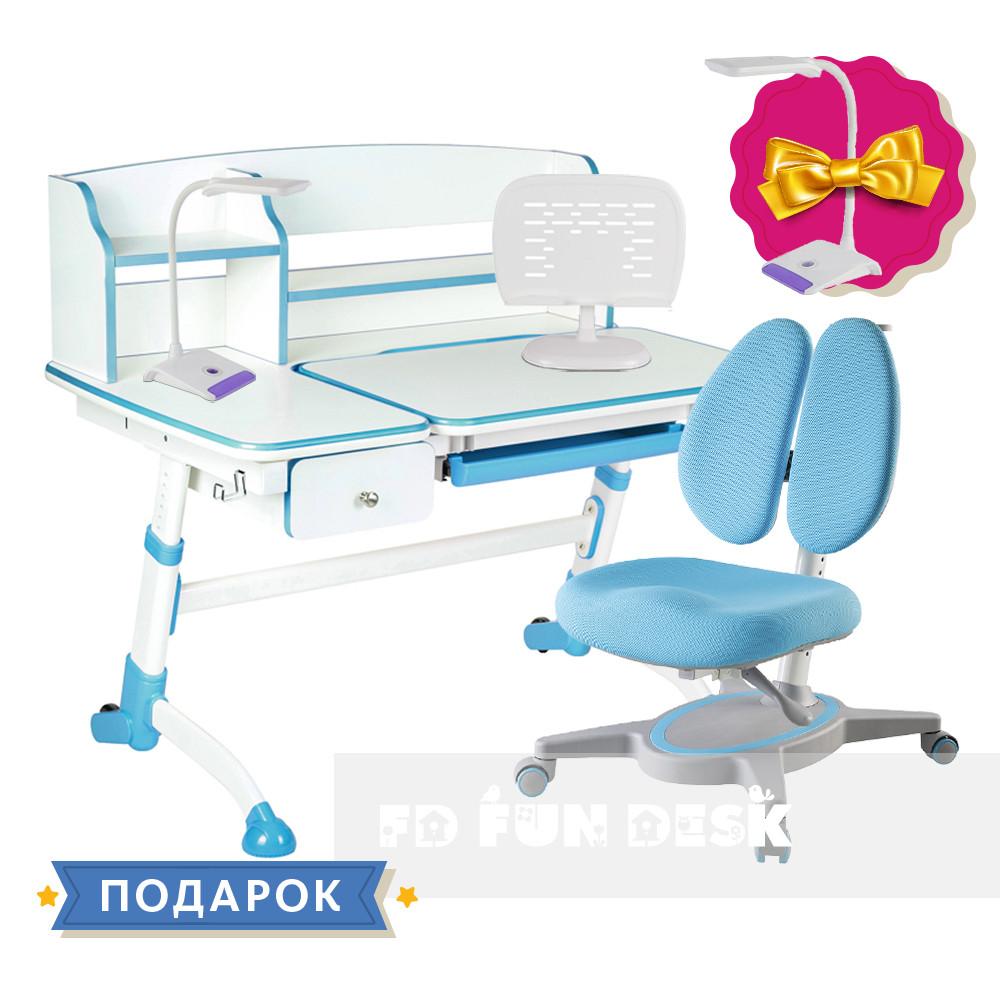 Комплект для школьника парта FunDesk Amare II Blue + кресло FunDesk Primavera II Blue