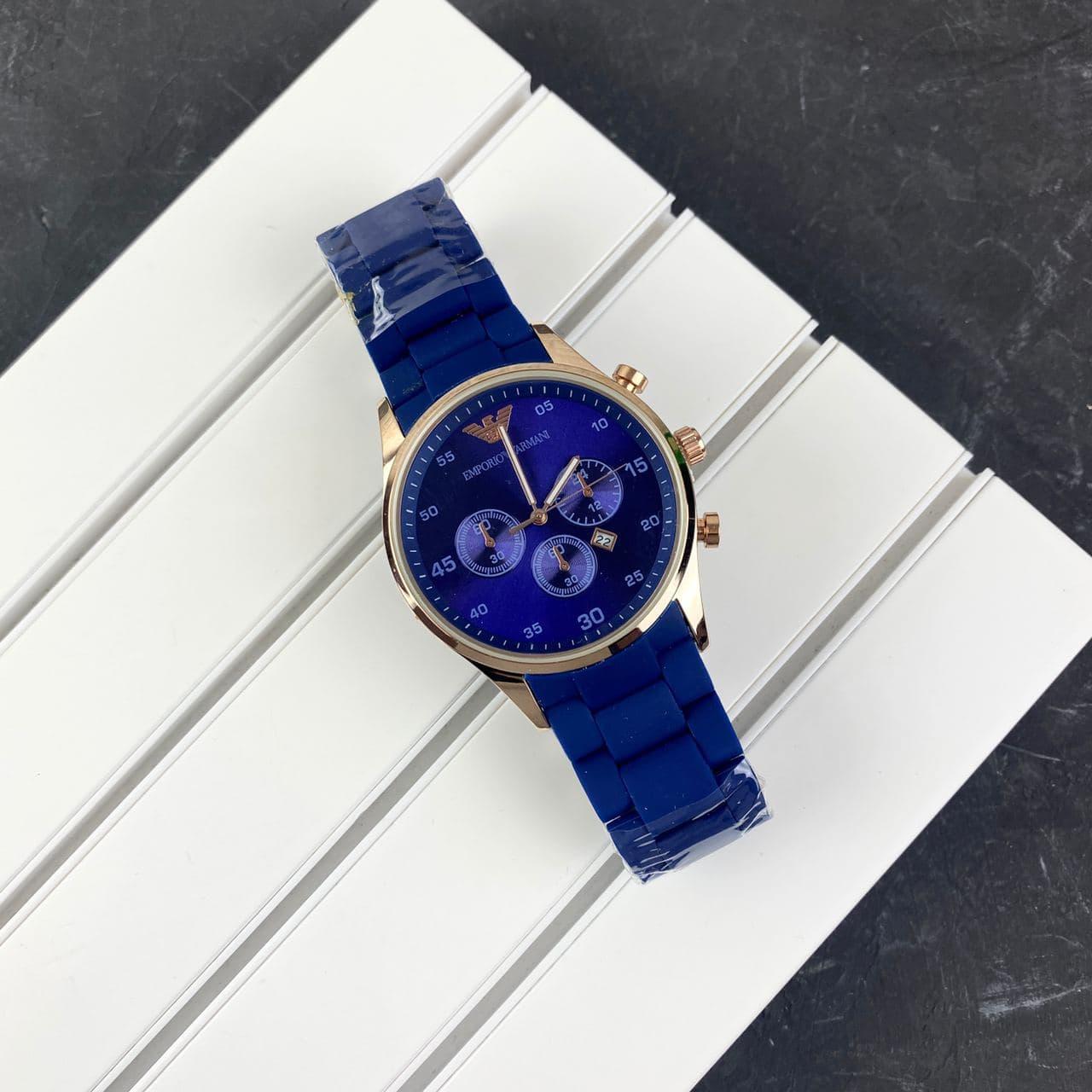 Мужские наручные часы Emporio Armani Silicone 068 Gold-Blue