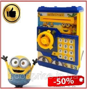 Детская копилка MINIONNE сейф с купюроприёмником Миньон с кодовым замком
