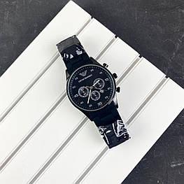 Мужские наручные часы Emporio Armani Silicone 068 All Black