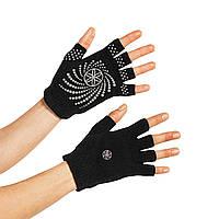 Gaiam нескользящие перчатки без пальцев; W черный/серый 54029