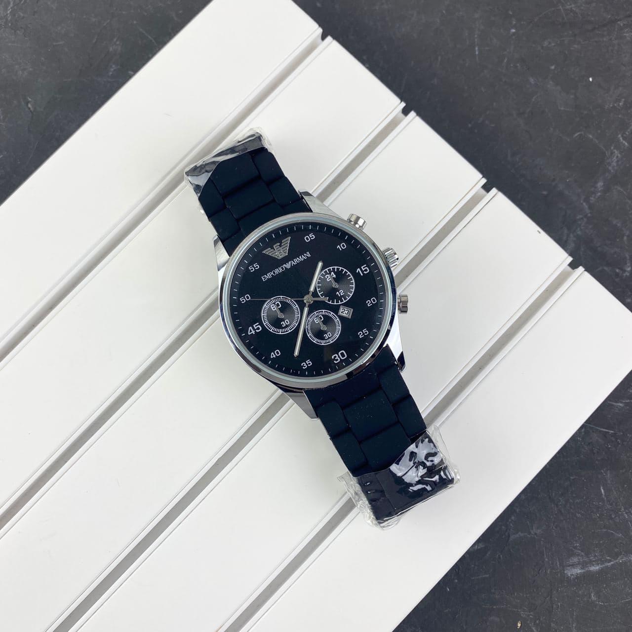 Мужские наручные часы Emporio Armani Silicone 068 Silver-Black
