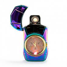 Электрическая спиральная зажигалка с часами  USB LIGHTER 813  clock, аккумуляторная зажигалка, зажигалка USB