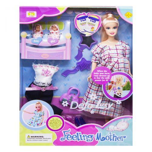 Кукла с младенцами (платье в клеточку) 8009